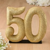 50th Gold Glitter Cake Topper